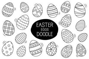 Ostereier setzen Gekritzelart. glückliche Osternhand gezeichnet lokalisiert auf weißem Hintergrund. vektor