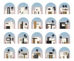 minimalistisk hus platt vektorillustrationer set vektor