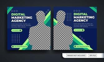 thematische Social-Media-Post-Vorlage der blauen und grünen Marketingagentur vektor