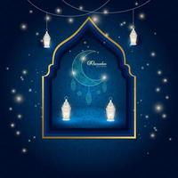 Ramadan Kareem islamische Feier blaue Nacht Hintergrund vektor