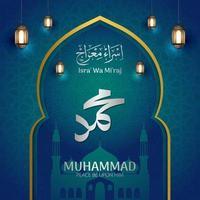 isra mi'raj islamisk firande design vektor