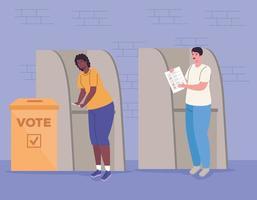 Wahltagsbanner mit Leuten an der Wahlkabine vektor