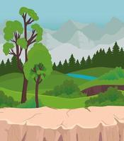 Landschaft mit Baumkiefern und Flussvektorentwurf vektor