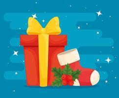 Frohe Weihnachten Geschenk mit Lager Vektor-Design vektor