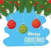 Frohe Weihnachten und ein frohes neues Jahr Banner mit Ornamenten vektor