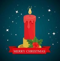 Frohe Weihnachten Banner mit Kerze vektor