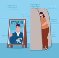 Wahltagsbanner mit Frau an der Wahlkabine vektor