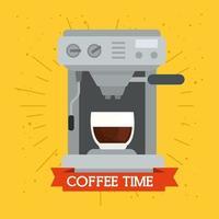 Kaffeemaschine auf gelbem Hintergrund vektor