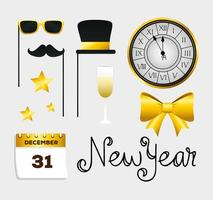 Frohes neues Jahr Icon Set Vektor-Design vektor