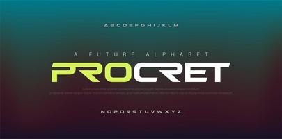 abstrakte digitale moderne Alphabet-Schriften. Typografie-Technologie Elektronik, Sport, Musik, zukünftige kreative Schrift. Vektorillustration vektor