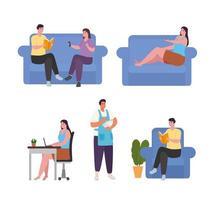 Leute, die Aktivitäten zu Hause Ikonensammlung Vektor-Design tun vektor