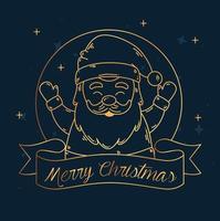 god jul och gott nytt år banner med jultomten vektor