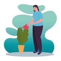 Frau mit Pflanze und Bewässerung kann Vektordesign vektor