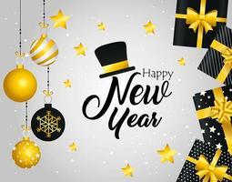 Frohes neues Jahr Banner mit Geschenken und Ornamenten vektor