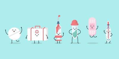 niedliche Zeichentrickfilm-Medizinfigur. isometrische Medikamente, Pillen, Spritze, Thermometer, Pflaster, Tropfer und Erste-Hilfe-Kasten. Illustrationsdesignkonzept von Gesundheitswesen und Medizin. - Vektor