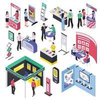 isometrisches Messestand Messeausstellungsset vektor