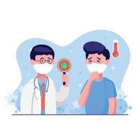 Arzt trägt medizinische Schutzmaske Check mit Mann für Coronavirus-Scannen, er ist infiziert, Ergebnisse ist hohe Temperatur. Weltkoronavirus und Covid-19-Ausbruch und Pandemie-Angriffskonzept. vektor