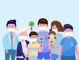 Die Familie, die eine medizinische Schutzmaske im flachen Stil trägt, bleibt sicher, um das Coronavirus zu schützen. Covid-19-Ausbruch und Pandemie-Angriffskonzept. vektor