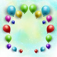 Ballonger på stjärnblå akvarellbakgrund