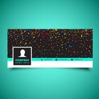Social media tidslinje omslag med konfetti design vektor