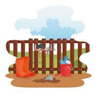 Gartenstiefel, Werkzeuge, Eimer und Schaufelvektorentwurf vektor