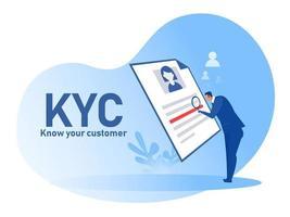 kyc oder kennen Sie Ihren Kunden mit Geschäft, das die Identität seines Kundenkonzepts durch einen Lupenvektorillustrator überprüft vektor