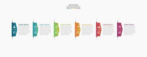 Infografiken Pfeilsymbole mit 6 Optionen vektor