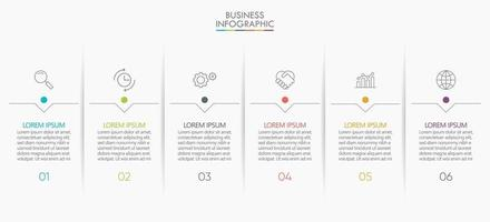 Infografiken Symbole mit 6 Schritt vektor
