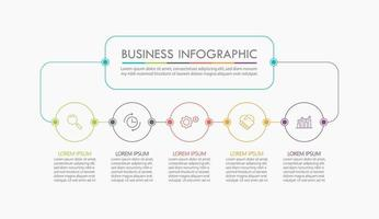 infographic tunn linje designmall med 5 alternativ vektor