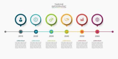 Infografiken Symbole mit 6 Optionen vektor