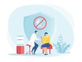 männlicher Arzt mit Spritze gibt Impfungen, Gesundheitsimpfarzt, Immunisierung in Klinik Vektor Illustrator.