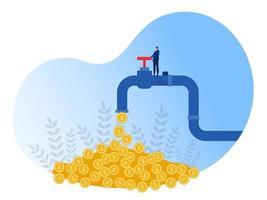 Geschäftsmann öffnet einen Hahn, aus dem Münzen fließen. Finanzeinkommen, Kapitalerträge. passives Einkommenskonzept. Vektorillustration vektor