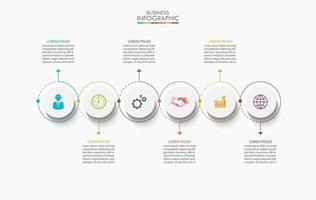 Infografik dünne Linie Pfeilvorlage mit 6 Optionen vektor