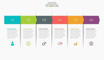 modern infografisk anslutningsmall med 6 alternativ vektor