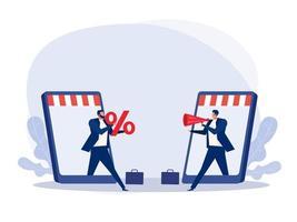 två affärsmän gör erbjudanden via onlinebutik säljfrämjande koncept rabatterade försäljningspriser, minskningar, shopping, kundökningar.