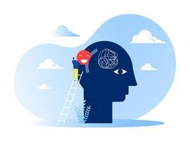 Der Geschäftsmann setzt ein positives Denkzeichen auf das menschliche Konzept des großen Kopfes. vektor