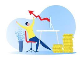 Geschäftsmann freudig wegen des Geschäftsgewinns, der Online-Vektorillustration wächst vektor