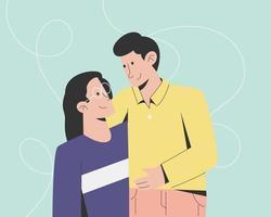 Menschen Paar umarmen sich vektor