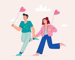 süßes Paar läuft am Valentinstag vektor