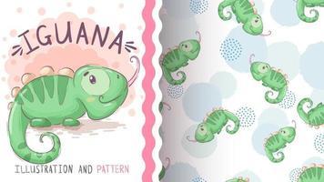 barnslig tecknad karaktär djur leguan - sömlösa mönster vektor