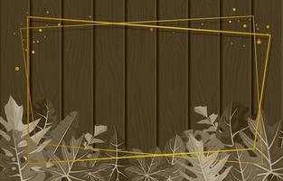 rektangulär trätextur bakgrundsmall med tropisk bladgräns vektor
