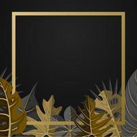gyllene fyrkantig bakgrundsmall med tropisk växtbladgräns vektor