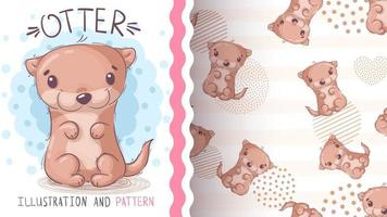 Aquarell Cartoon Charakter Tier Otter - nahtloses Muster vektor