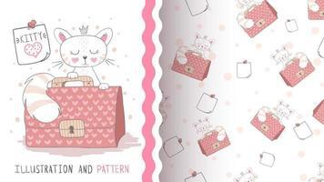 lustige Zeichentrickfigur Tierkatze mit Koffer - nahtloses Muster vektor