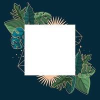 quadratische Hintergrundschablone mit tropischem Blattrand vektor