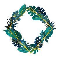 fyrkantig bakgrundsmall med tropisk bladgräns vektor