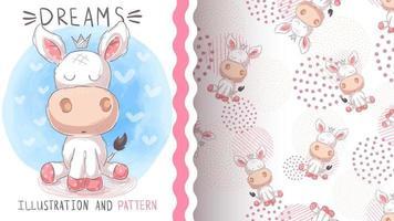 teddy tecknad karaktär djur åsna - sömlösa mönster vektor