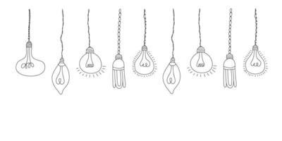 Satz Vektor Gekritzelillustration mit hängenden Glühbirnen. moderner Hipster-Skizzenstil. Gestaltungselement für Innenskizze, Web, Poster oder Banner