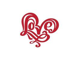 roter Text des handgeschriebenen Vektorlogos roter Text laserschnitt Liebe und Herz glücklich Valentinstagskarte, romantisches Zitat für Designgrußkarte, Tätowierung, Feiertagseinladung vektor