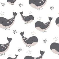 val och små fiskar sömlösa mönster tryck design. vektor illustration design för modetyger, textilgrafik, tryck